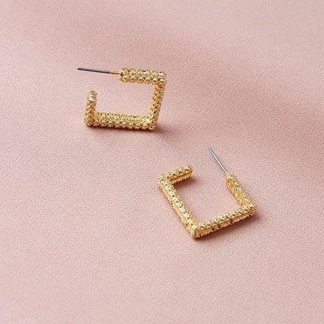 nouvelles boucles d'oreilles géométriques en alliage de texture métallique simple en gros NHGU254275's discount tags