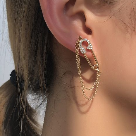 simple chain diamond paper clip new small tassel  earrings hot sale wholesale NHMD254301's discount tags