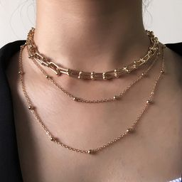 Hot-selling  creative necklace  punk  multi-layer mixed chain necklace  NHMD254305