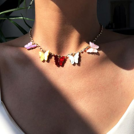 New  diamond-studded  small butterfly pendant  alloy fashion   necklace NHMD254306's discount tags