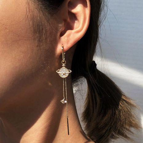 Baroque  asymmetrical long tassel diamond planet earrings wholesale NHMD254307's discount tags