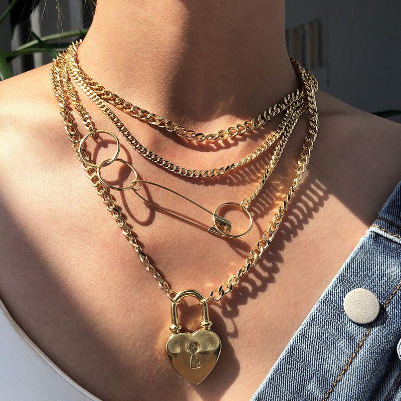 Fashion punk   exaggerated multi-layer  creative love  necklace set wholesale NHMD254317
