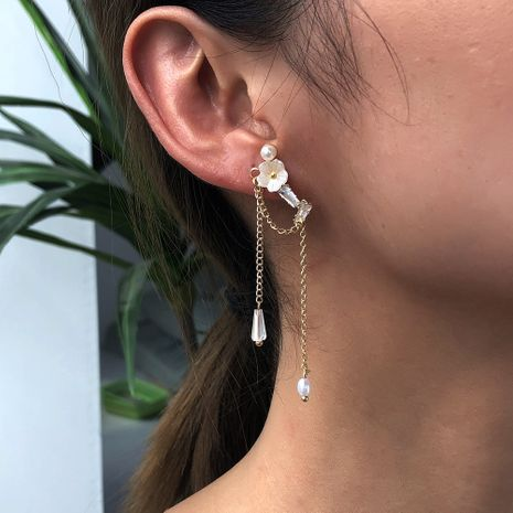 exquisite design sense fashion pearl simple flower tassel earrings wholesale NHMD254319's discount tags
