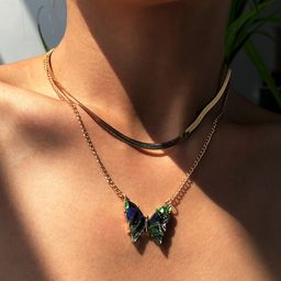 Fashion   butterfly pendant   creative wild multi-layer necklace  NHMD254322