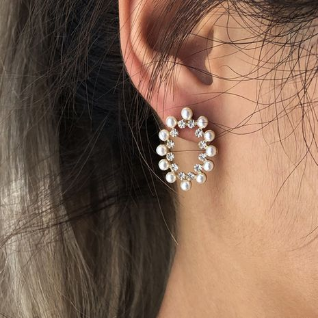 simple alloy diamond oval pearl earrings wholesale NHMD254328's discount tags
