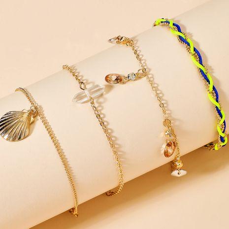 New Fashion Shell einfache Strass geflochtene Seil Strandkette vierteilige Set Legierung Fußkettchen NHGY254331's discount tags