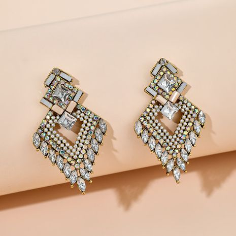 new retro bohemian multi-layer diamond geometric glass earrings wholesale NHGY254333's discount tags