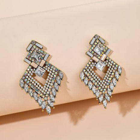 new retro bohemian multi-layer diamond geometric glass earrings wholesale NHGY254333's discount tags