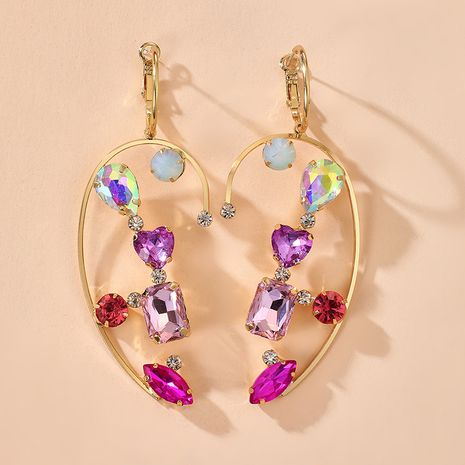 new fashion exaggerated pink amethyst color crystal half love diamond earrings wholesale NHGY254334's discount tags