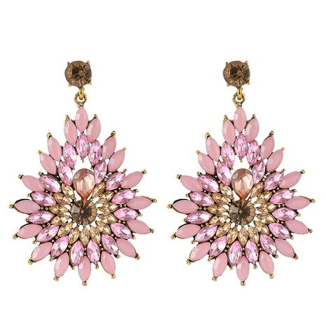 retro fashion all-match diamond flower rhinestone long drop shape earrings wholesale NHGY254335's discount tags