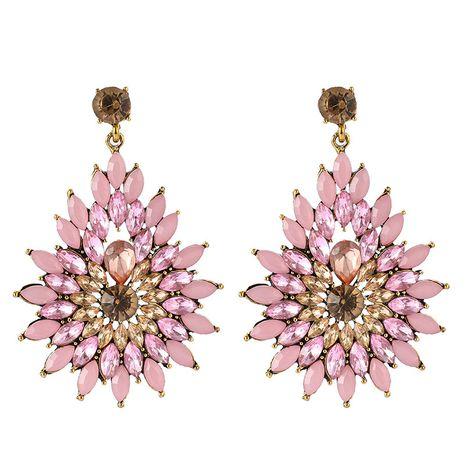 retro fashion all-match diamond flower rhinestone long drop shape earrings wholesale NHGY254335's discount tags