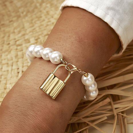 Moda nueva pulsera romántica con cerradura de perla salvaje para mujer NHGY254337's discount tags