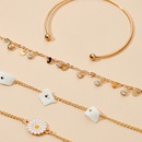 new bohemian style simple disc flower broken shell 4 piece set alloy bracelet NHGY254342