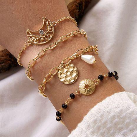 Moda estilo étnico exagerado geométrico hueco pieza redonda grano de arroz negro perla pulsera de aleación de luna conjunto de 4 piezas NHGY254352's discount tags