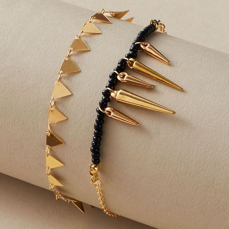fashion bohemian style fashion trend beach triangle tassel alloy anklet 2-piece set NHGY254354