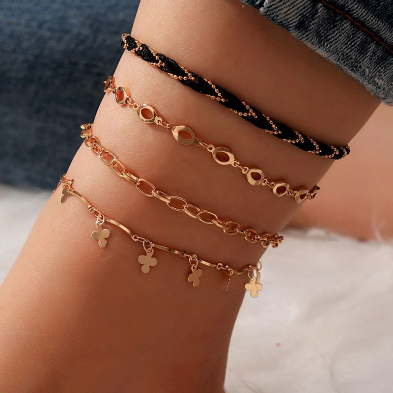 Fashion thick chain flower cord braided wind multi-layer alloy anklet 4-piece set NHGY254355