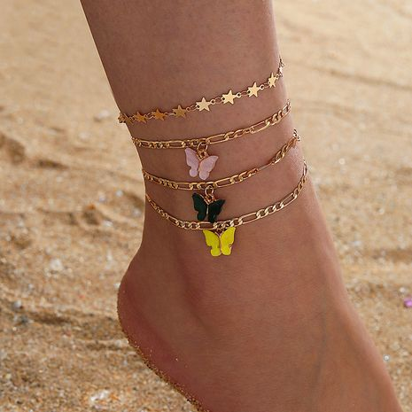 Korean color butterfly fashion all-match alloy five-pointed star foot decoration 4-piece set alloy anklet  NHGY254358's discount tags