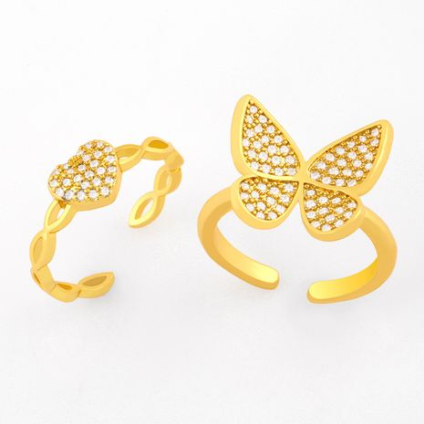 Fashion diamond butterfly ring heart-shaped  ring   NHAS254362's discount tags