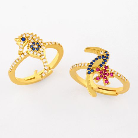 Fashion personality ocean wind diamond seahorse ring  NHAS254366's discount tags