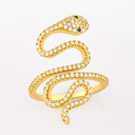 Fashion personality inlaid zircon serpentine  wild hip-hop ring wholesale  NHAS254367's discount tags