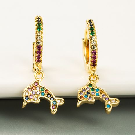 Fashion cute copper gold-plated micro inlaid zircon dolphin earrings  NHLN254368's discount tags