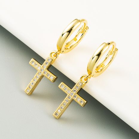 Fashion personality retro cross brass earrings micro-inlaid zircon gold-plated  earrings NHLN254369's discount tags