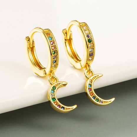 Hot Selling Star and Moon Earrings   Brass Micro-inlaid Colored Zircon  Earrings NHLN254372's discount tags