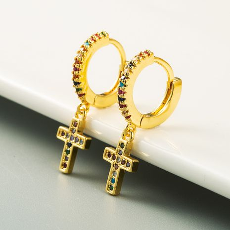 New personality cross earrings  gold plated with color zircon  earrings wholesale NHLN254376's discount tags