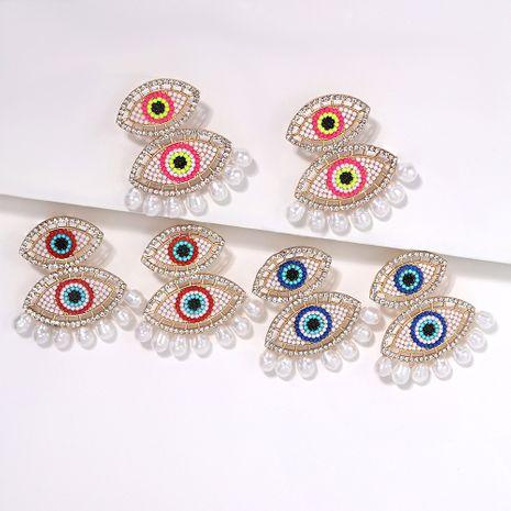 irregular geometric blue eyes diamonds stitching pearl tassel earrings wholesale NHJQ254385's discount tags