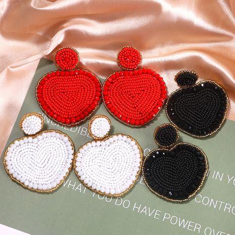 handmade peach heart rice bead  ethnic exotic simple retro earrings wholesale NHJQ254386's discount tags