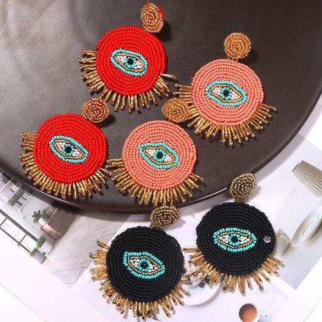 long tassel ladies handmade rice beads creative devil eyes bohemian earrings wholesale NHJQ254387's discount tags