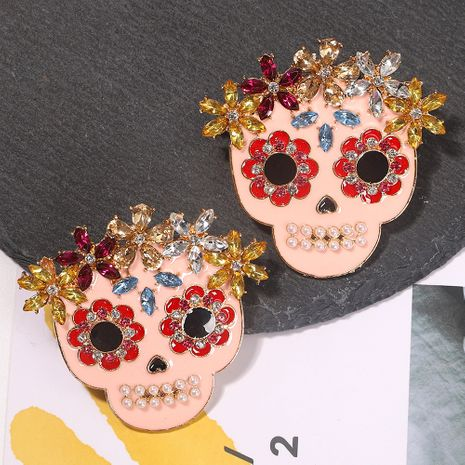 horror Halloween clown ghost alloy diamond creative earrings wholesale NHJQ254390's discount tags