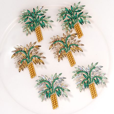 new coconut tree girls alloy diamond creative earrings  wholesale NHJQ254391's discount tags