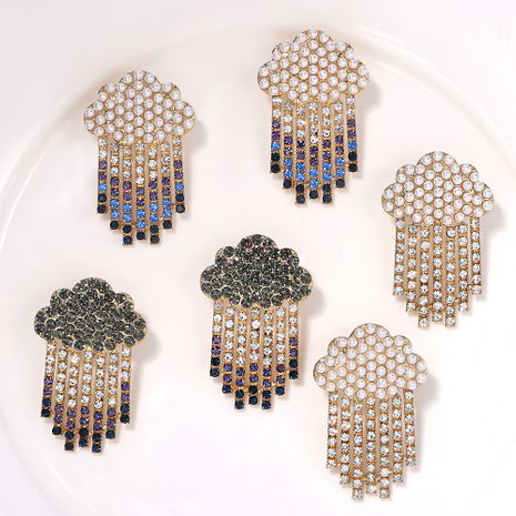 Korea mixed color alloy inlaid with colored diamonds simple earrings jewelry wholesale NHJQ254392's discount tags