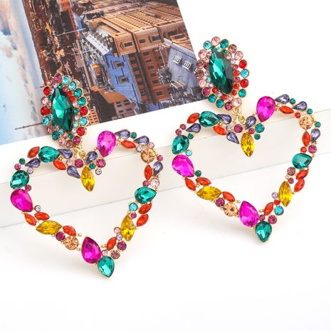 Fashion Color Diamond Series Love Heart Shaped Alloy Rhinestone Exaggerated Earrings wholesale NHJE254416's discount tags