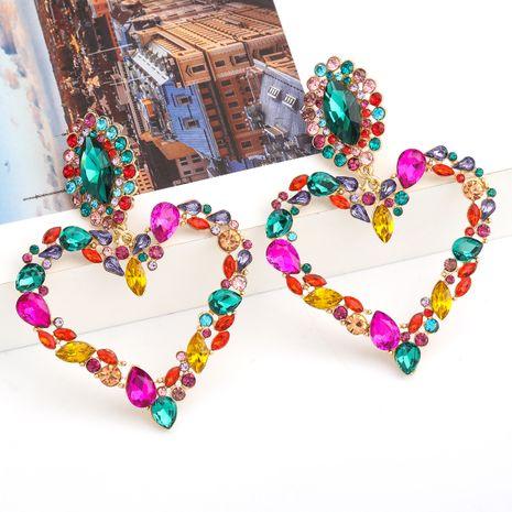 Pendientes exagerados de diamantes de imitación de aleación en forma de corazón de amor serie de diamantes de color de moda al por mayor NHJE254416's discount tags