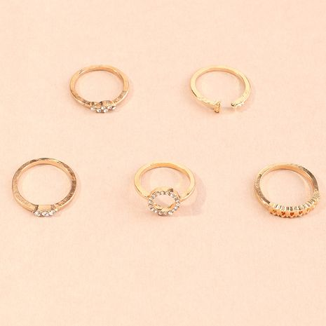 geometric micro-inlaid ring 5-piece set creative joint ring wholesale NHNZ254424's discount tags