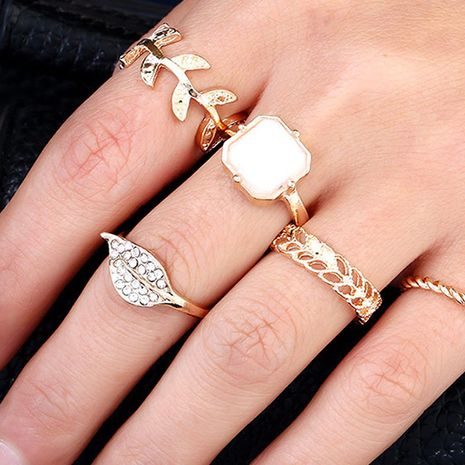 twist index finger ring alloy leaf micro-inlaid set ring wholesale NHNZ254430's discount tags