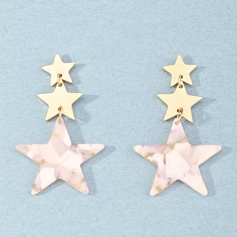 cute pink acrylic plate five-pointed star earrings wholesale NHNZ254459's discount tags