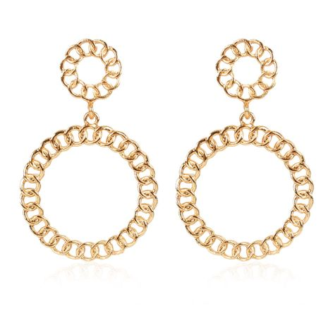 Bohemian retro alloy plating geometric chain round earrings wholesale NHCT254470's discount tags