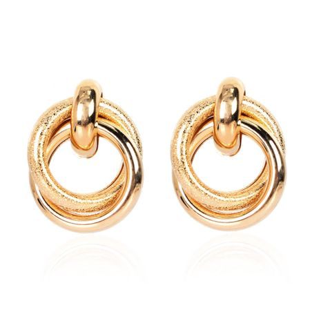 creative retro alloy plating ring interlocking hollow earrings wholesale NHCT254472's discount tags