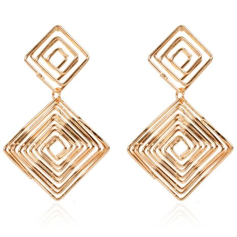 exaggerated alloy earrings fashion golden square earrings wholesale NHCT254473's discount tags