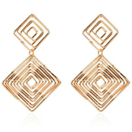 boucles d'oreilles en alliage exagérées boucles d'oreilles carrées dorées en gros NHCT254473's discount tags