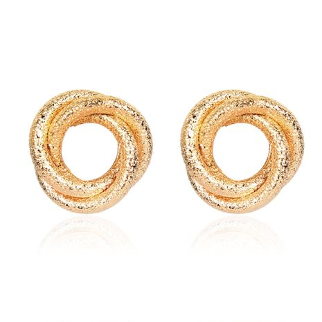 Fashion golden ring hollow frosted alloy punk style earrings for women NHCT254481's discount tags
