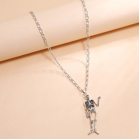 Fashion skull human bone unisex long exaggerated necklace NHKQ254487's discount tags