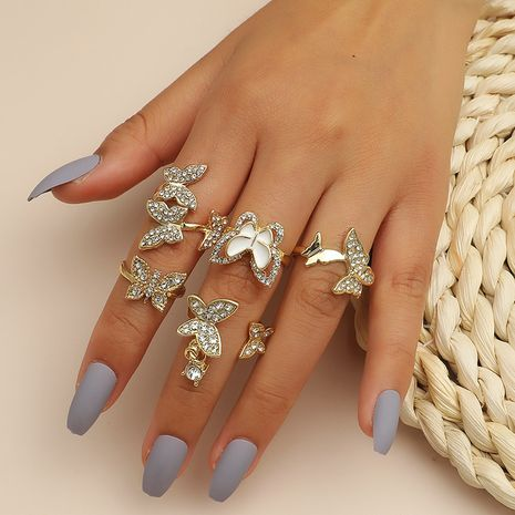 Simple diamond butterfly combination ring 5 piece set   NHKQ254502's discount tags