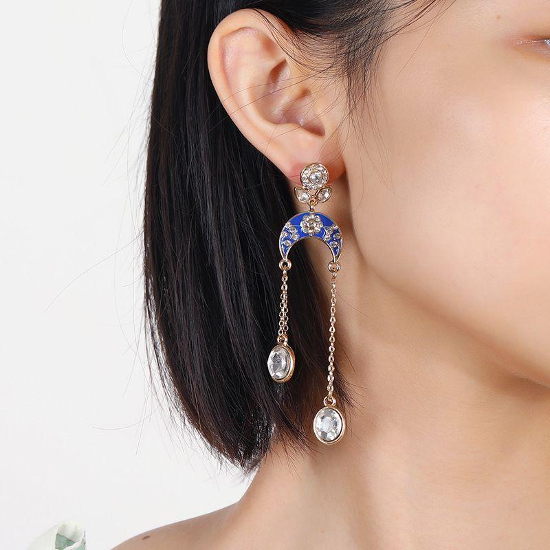 Korea's fashion bohemian ethnic style simple retro drip oil diamond geometric tassel earrings NHKQ254504
