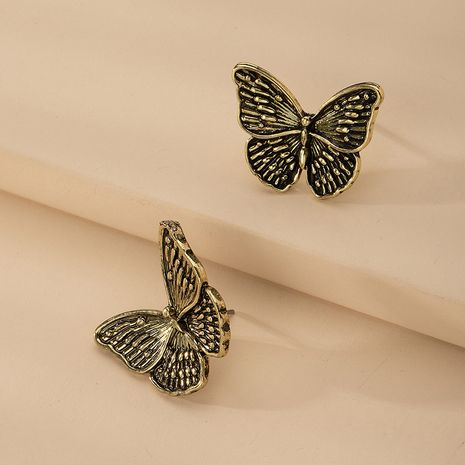 Fashion retro butterfly charm metal alloy earrings for women wholesale NHAI254508's discount tags