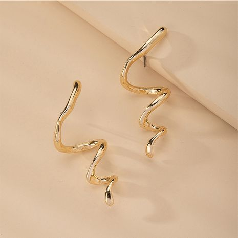 simple snake-shaped popular metal earrings Korean fashion jewelry wholesale NHAI254510's discount tags
