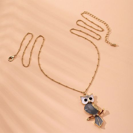 Personality owl pendant   long  necklace wholesale NHAI254556's discount tags